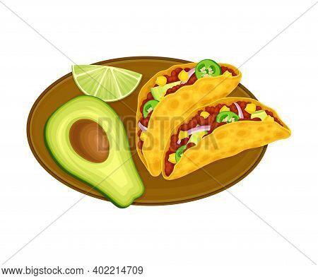 Folded Taco Of Corn Tortilla With Savory Filling Of Forced Meat And Condiments As Traditional Mexica