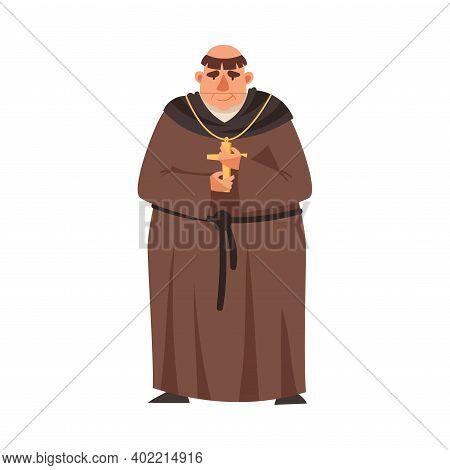 Medieval Priest Or Monk Wearing Brown Hooded Gown Vector Illustration