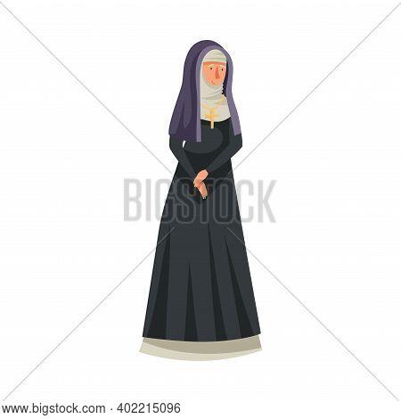 Medieval Woman Nun Or Vestal Wearing Black Gown Vector Illustration