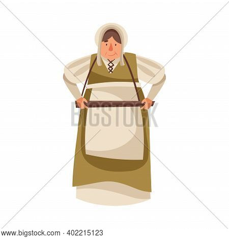 Medieval Female Peasant Carrying Wooden Tray Vector Illustration