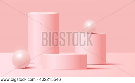 Minimal Abstract Mock Up Scene With Podium Or Platform, Air Flying Geometric Bubble Shapes On Pink B