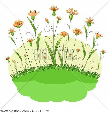 Blooming Meadow With Grass And Flowers. Cartoon Just Style. Isolated On White Background. Romantic F