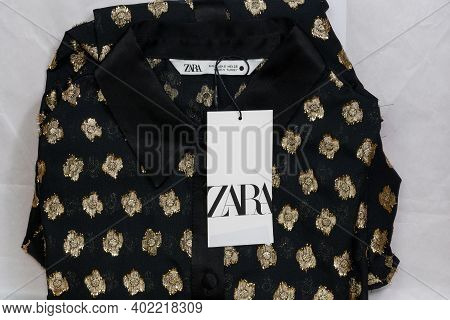 Thessaloniki, Greece - December 5 2020: Zara Spanish Clothes Brand Online Delivery. Order Package Co