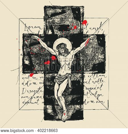 Religious Banner With Crucified Jesus Christ, Abstract Black Cross And Red Drops On The Background O