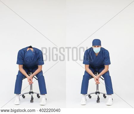 Tired man medical professional sitting on mobile saddle - front view