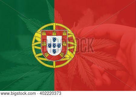 Medical Cannabis In The Portugal. Cannabis Legalization In The Portugal. Leaf Of Cannabis Marijuana
