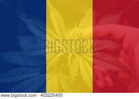 Leaf Of Cannabis Marijuana On The Flag Of Romania. Weed Decriminalization In Romania. Cannabis Legal