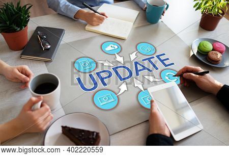 Update Upgrade Business Technology Development Concept On Flat Lay Office Desktop.