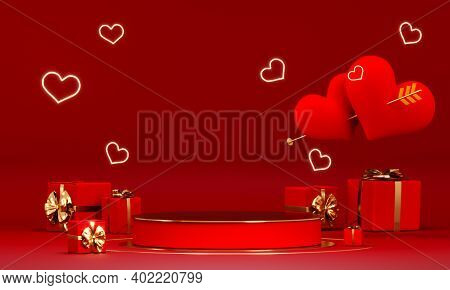 Valentines Day Abstract Background With Red Hearts And Podium Showcase For Product Presentation. Feb
