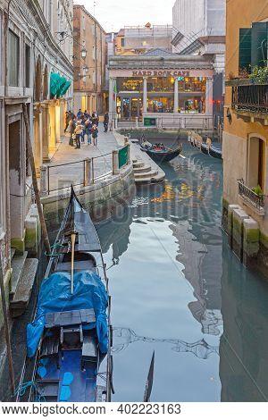 Venice, Italy - January 9, 2017: Famous Hard Rock Cafe At Canal In Venice, Italy.