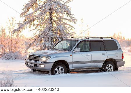 Novyy Urengoy, Russia - November 14, 2020: Luxury Offroad Car Toyota Land Cruiser 100 In A Snow Cove