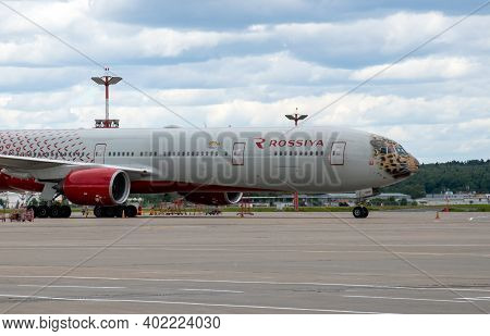 Moscow, Russia - June 6. 2018. The Plane Of The Airline Rossiya With Leopard Print In Vnukovo Airpor