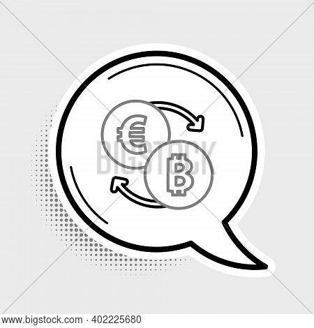 Line Cryptocurrency Exchange Icon Isolated On Grey Background. Bitcoin To Euro Exchange Icon. Crypto