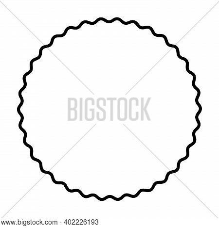 One Bold Wavy Line Forming A Black Circle Frame. Circle Frame, Made By A Black Serpentine Line. Snak