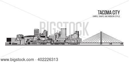 Cityscape Building Abstract Simple Shape And Modern Style Art Vector Design - Tacoma City