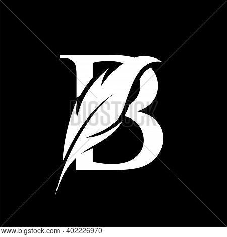 Initial Letter B Logo With Feather. Trendy Design Concept Luxury Feather Element And Letter B For Co