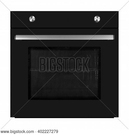 Household Appliances - Black Electrical Oven Isolated On A White Background.