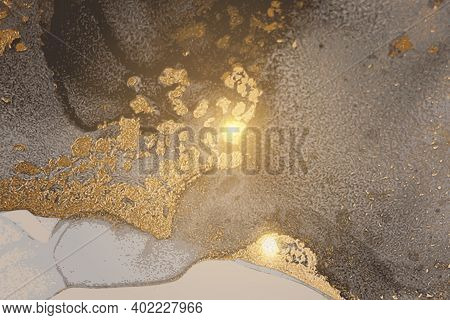 Grey And Gold Foil Stone Marble Texture With Glowing Lights