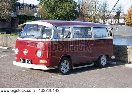 An Old Volkswagon Campervan In A Car Park In The Uk, Taken 19th November 2020