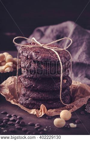 Double chocolate Chip cookies with macadamia nuts