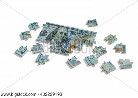 One Hundred Dollar Bill Puzzle Isolated On White Background. 3d Illustration.