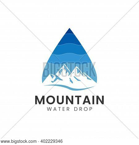 Mountain With Water Drop Logo Design Template