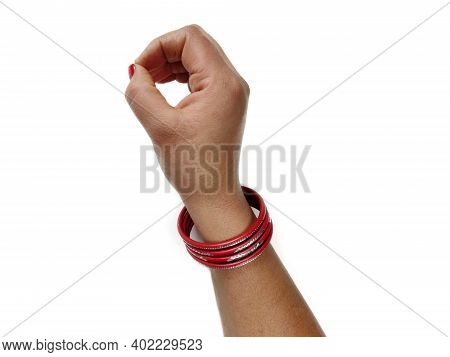 Woman Hand With Bangles Showing O Letter On White Background, Closeup. Sign Language