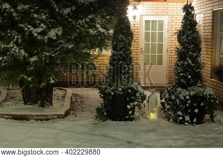 Houses In The Suburbs. Winter In Finland Street And Houses Covered With Beautiful Snow Evening Photo