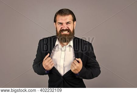 Aggressive Boss In Jacket. Mature Man Has Serious Look. Confidence And Charisma. Handsome Man Wear O