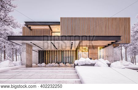 3D Rendering Of Modern House With Wood Plank Facade In Winter Evening