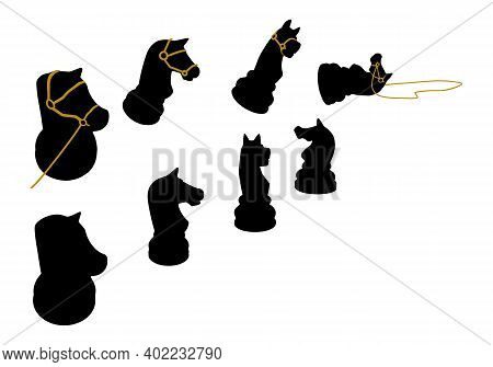Chess Piece Knight With Reins. Silhouette Illustration, Vector