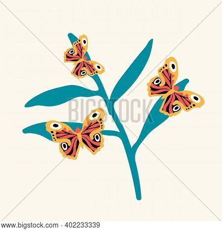 Illustration Of A Butterfly On A Flower. Cute Little Insects Hover Near The Flower. Doodle Picture O