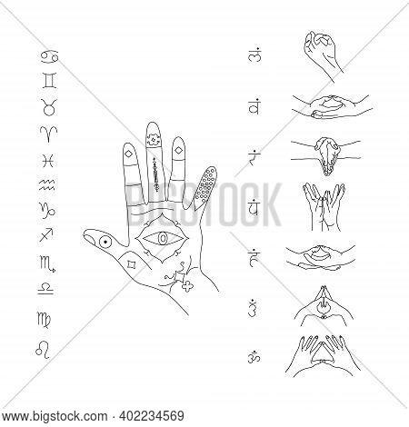 Mudras For Yoga And Meditation.jyotisha Or Hindu Astrology. Vedic Signs And Symbols. Indian Palmistr