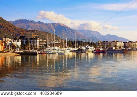 Tivat, Montenegro : December 20 2020 -  Winter View Of Bay Of Kotor  And Tivat City