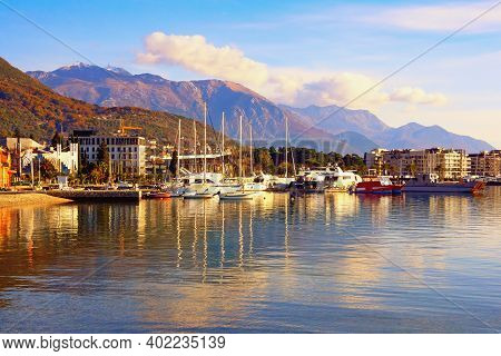 Beautiful Mediterranean Landscape. Winter View Of Bay Of Kotor  And Tivat City, Montenegro