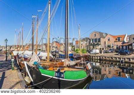 Spakenburg, Netherlands - May 21, 2020: Bow Of A Traditional Dutch Fishing Ship In Spakenburg, Nethe