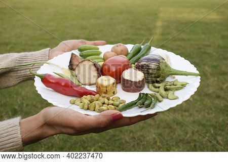 Female Hand Holding A Plate Of Fresh Raw Indian Vegetables To Make Undhiyu Or Oondhiyu An Authentic