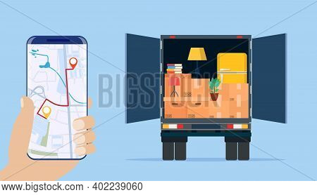 Delivery Truck With Household Items, Smartphone With Map. Moving To New House. Family Relocated To N