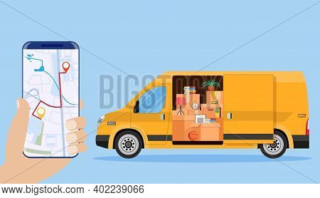 Delivery Van With Household Items, Smartphone With Map. Moving To New House. Family Relocated To New
