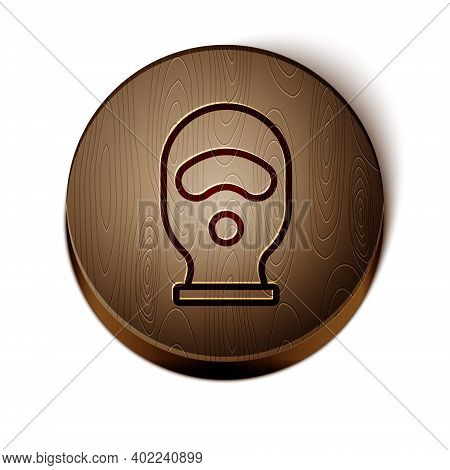 Brown Line Balaclava Icon Isolated On White Background. A Piece Of Clothing For Winter Sports Or A M