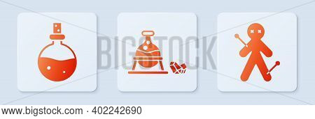 Set Witch Cauldron And Magic Stone, Bottle With Love Potion And Voodoo Doll. White Square Button. Ve
