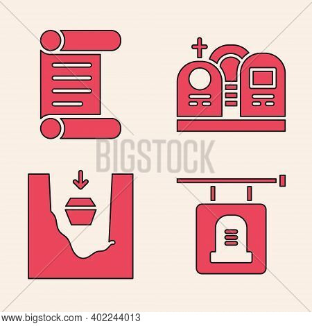 Set Signboard Tombstone, Decree, Parchment, Scroll, Grave With Tombstone And Coffin In Grave Icon. V