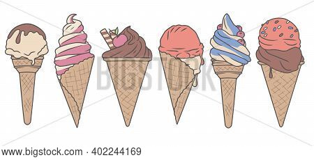 Vector Colection Set With Cute Delicious Looking Cartoon Ice Cream Cones