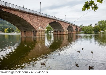 Historic Stone Bridge In Miltenberg, A Town In Lower Franconia, Bavaria, Germany