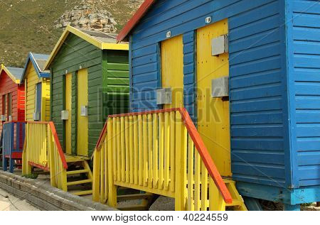 Beach huts at Muizenberg near Cape Town South Africa.