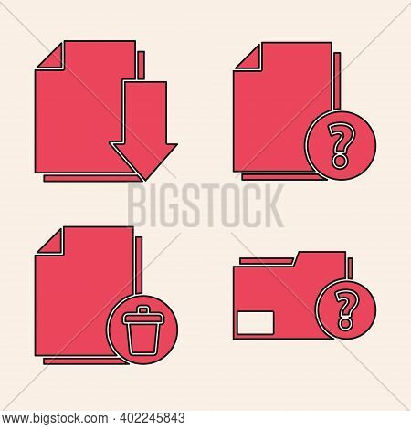 Set Unknown Document Folder, Document With Download, Unknown Document And Delete File Document Icon.
