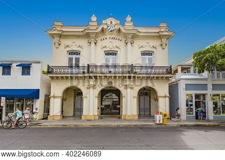 Key West, Usa - August 26, 2014: The San Carlos Institute, Also Known As The San Carlos, Is A Cuban