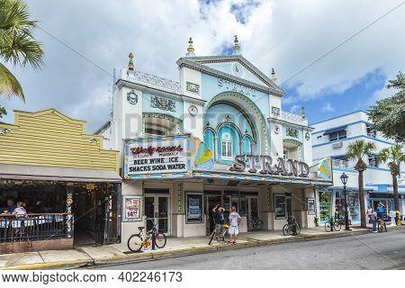 Key West, Usa - Aug 26, 2014: People At Key West Cinema Theater Strand In Key West, Florida, Usa, It