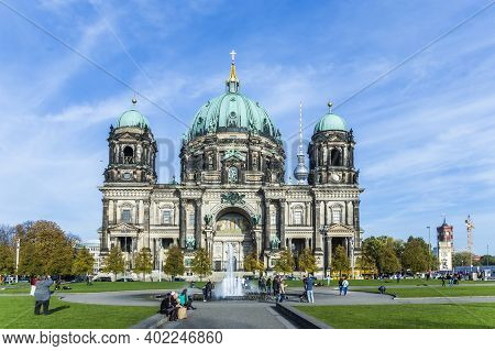 Berlin, Germany - October 27, 2014: The Berliner Dom, Or Cathedral Of Berlin, In Germany. Summertime