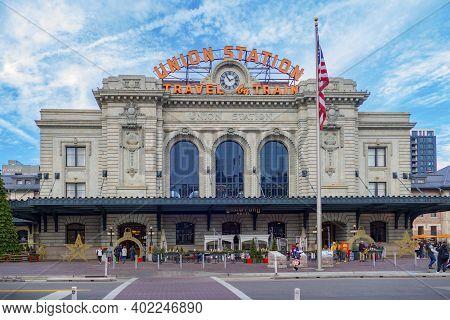 Denver, Usa - December 24, 2019: Vierw To Facade Of Historic Union Station In Denver, Colorado, Usa.